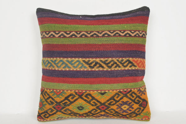 Old Kilim Pillows D00632 16x16 Organic Couch Handmade