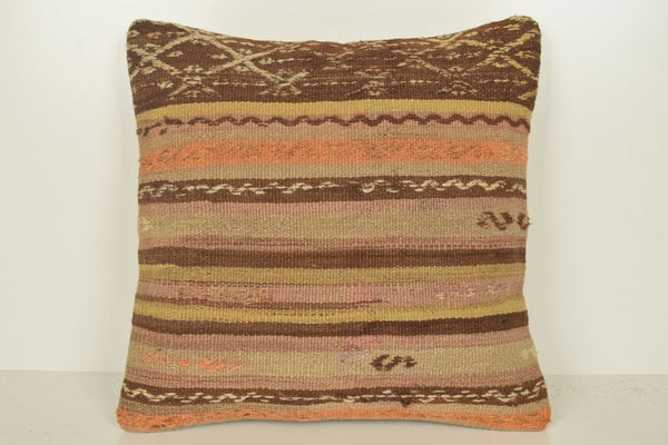 Vintage Kilim Pillow Covers C01338 18x18 Natural Embellishing Southwestern