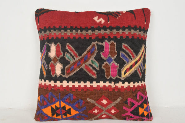 Turkish Rug Pillow C00534 18x18 Flat Asian House