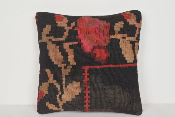 Kilim Bedside Rug Pillow D01538 16x16 Antique Comfortable Handiwork