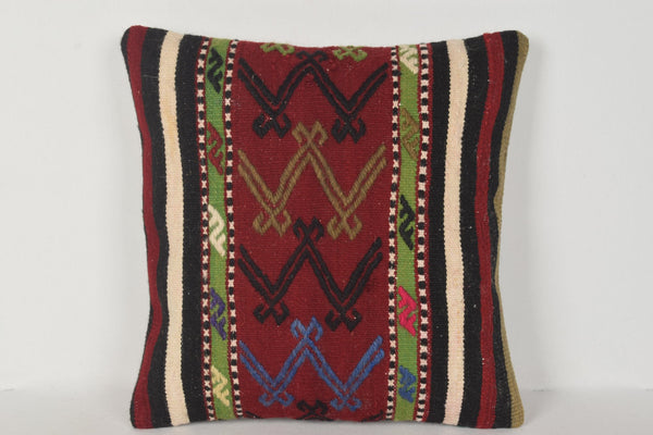 Patchwork Kilim Cushion D00271 16x16 Tuscan Furnishing Hand Embroidery