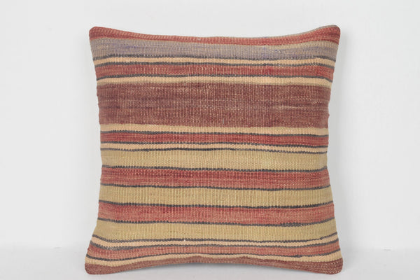 Kilim Bolster Pillow 16x16 D00153 Model Hand embroidery Retro