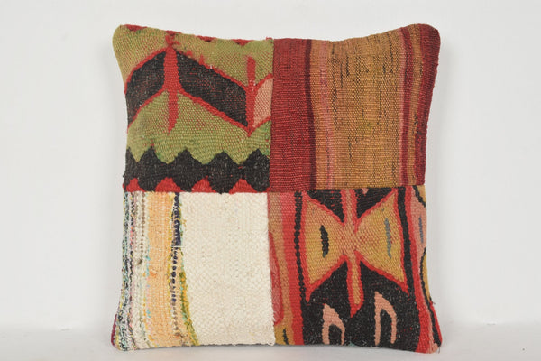 Turkish Throw Pillow Covers D00445 16x16 Hand woven Folkloric Euro sham