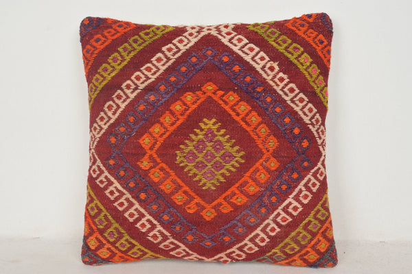 Moroccan Kilim Floor Pillow C00448 18x18 Turkish Good Needlework