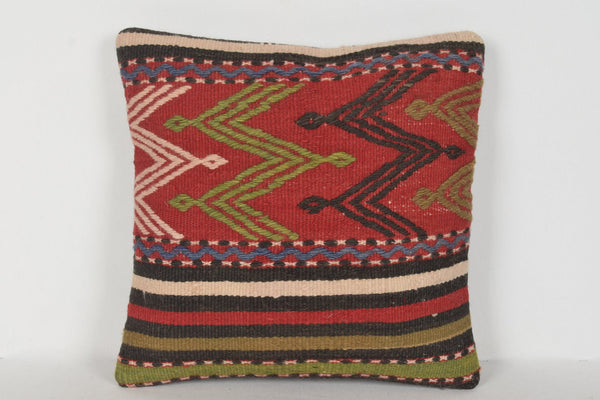 Kilim Pillow Lumbar D00349 16x16 Garden Economic Wool