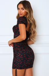 Love Luck Mini Dress Black Print