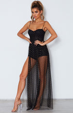 Totally Bangin' Mesh Maxi Dress Black/Gold