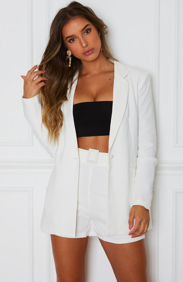 Get In Line Blazer White