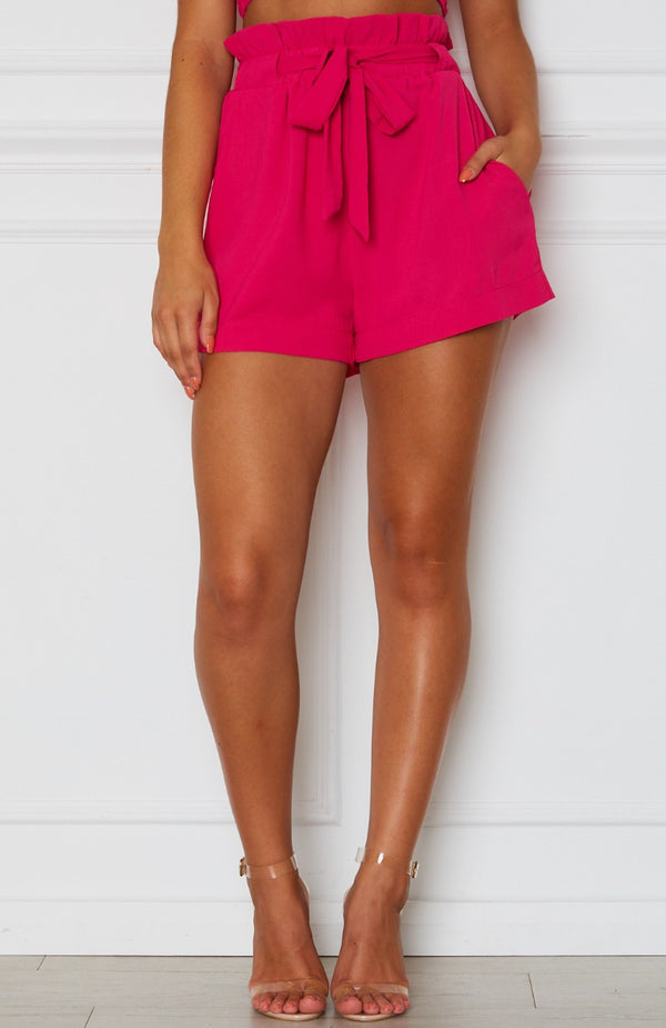 Lani Tie Shorts Hot Pink