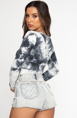Nothing To Prove Long Sleeve Ribbed Bodysuit Black Tie Dye