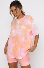 Summer Sunrise Vibe Oversized Tee Pink Sunset