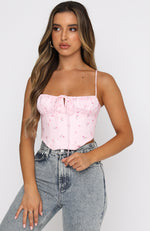String Them Along Bustier Pink Print