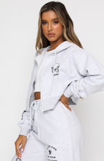 She's Bold Cropped Hoodie Grey Marle