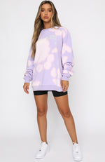 Up In The Sky Oversized Sweater Purple
