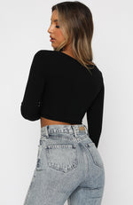 Back In Town Long Sleeve Crop Black