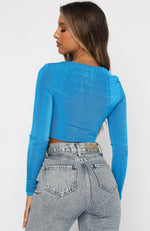 Keep On Dancing Long Sleeve Crop Blue