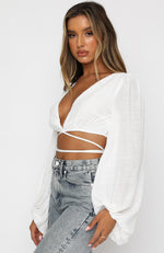 The Night Before Long Sleeve Crop White