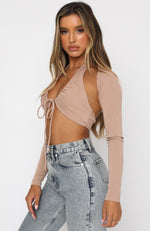 Runway Ready Long Sleeve Crop Beige