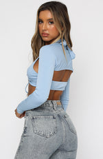 Runway Ready Long Sleeve Crop Blue