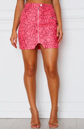 Cobra Mini Skirt Neon Pink Snake