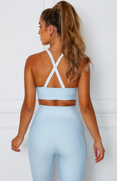 Aria Logo Sports Bra Baby Blue
