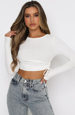Another Time Ribbed Crop White