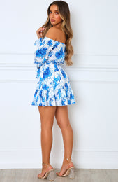 First Glance Mini Dress Blue Floral