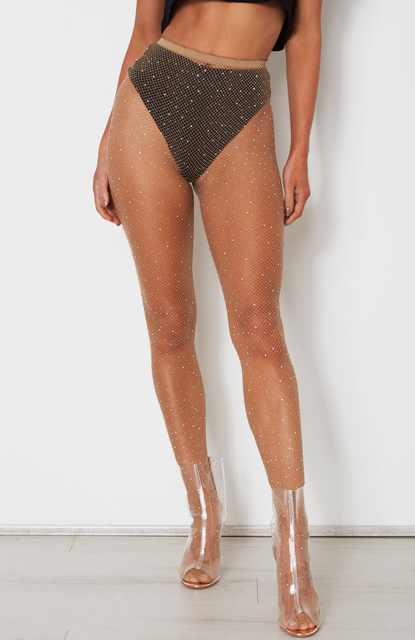 Sparkle Fishnet Tights Nude