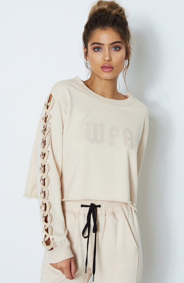 Piper Lace Up Sweater Nude