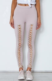 Suri Lace Up Leggings Ash Mauve