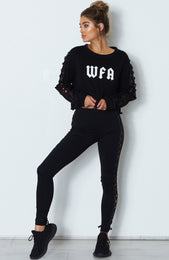 Piper Lace Up Sweater Black
