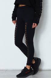 Suri Lace Up Leggings Black