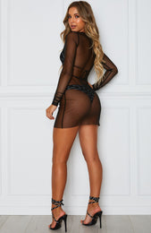 Think Again Mini Dress Black