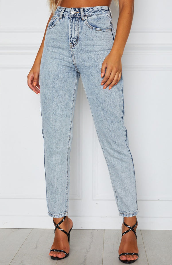 What Goes Around Boyfriend Jeans Washed Blue Denim
