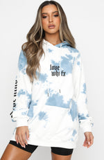 With Love Oversized Printed Hoodie Blue Tie Dye