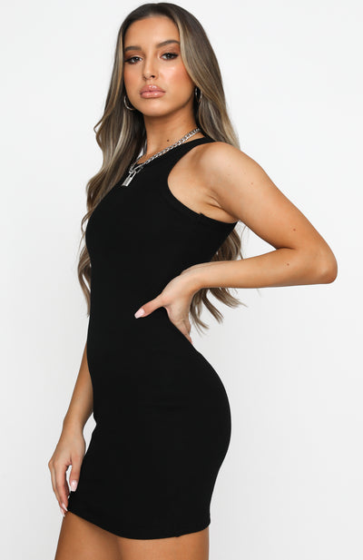 Star Power Ribbed Mini Dress Black