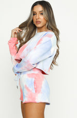 In Her Mind Cropped Sweater Coral Tie Dye