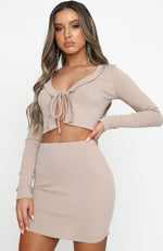 Handle It Ribbed Mini Skirt Beige