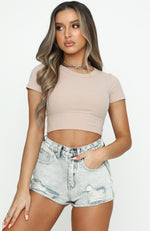 Forget About It Ribbed Crop Beige
