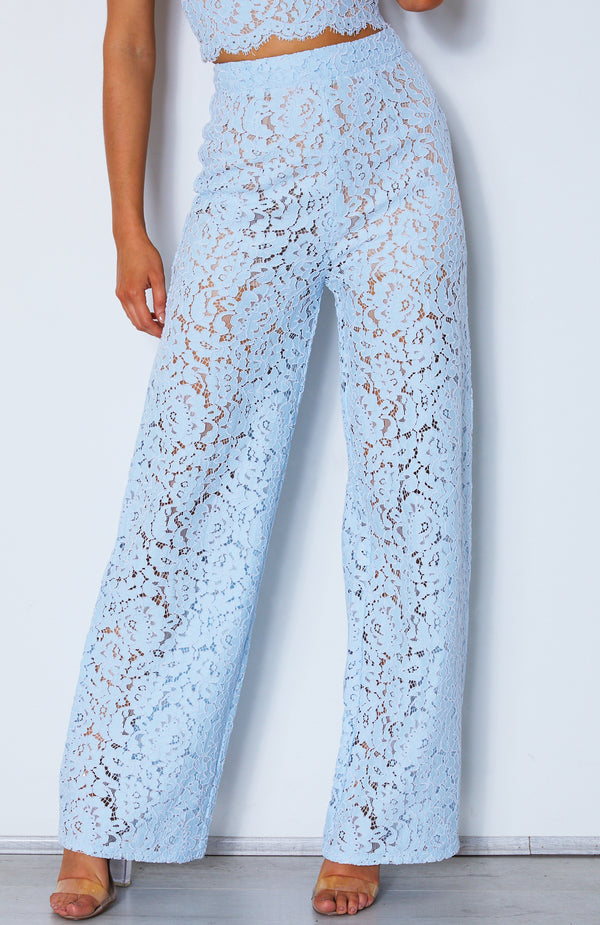 Cherie Lace Palazzo Pants Baby Blue