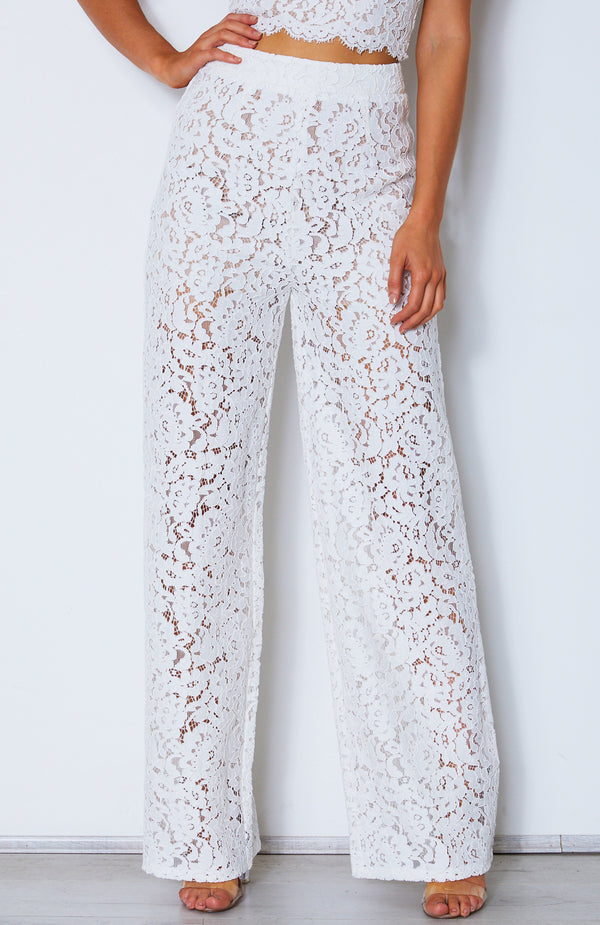 Cherie Lace Palazzo Pants Off White
