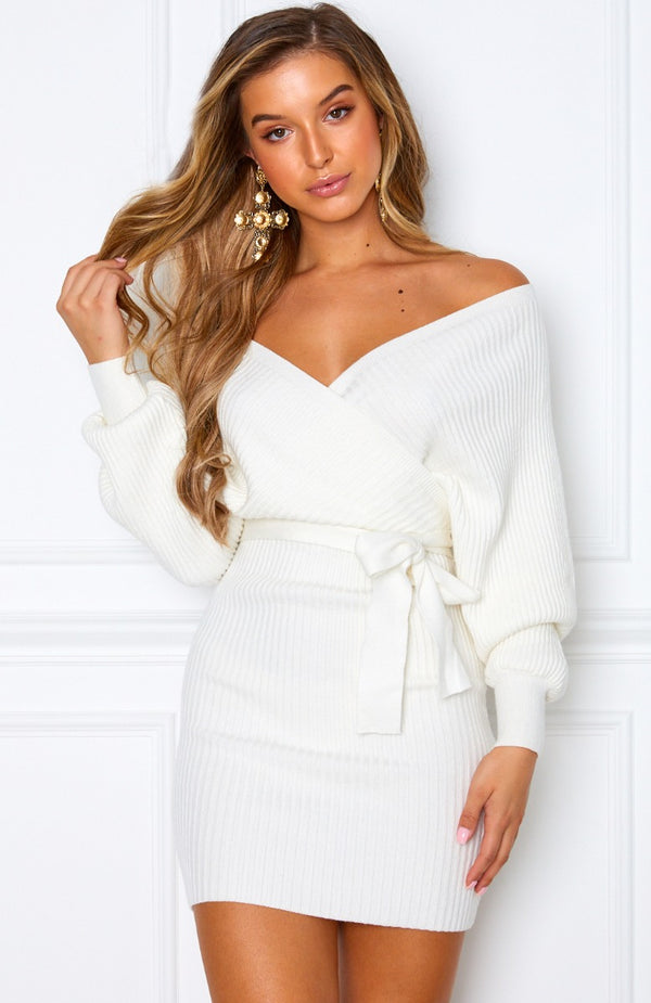 Wanna Bet Knit Dress White