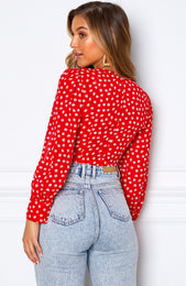 Snatched Long Sleeve Top Red Print