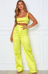 Charged Up Crop Neon Yellow