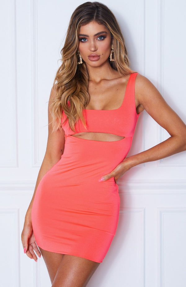 Sierra Mini Dress Neon Coral