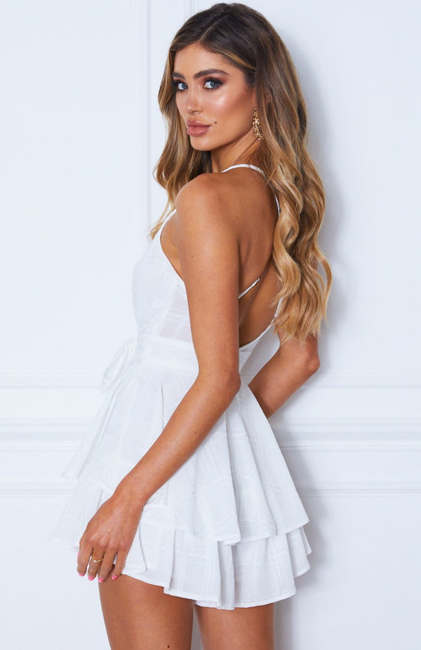 Who's That Girl Playsuit White