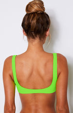 Flamingo Bikini Top Neon Green