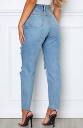 Love Stoned Boyfriend Jeans Retro Washed Blue