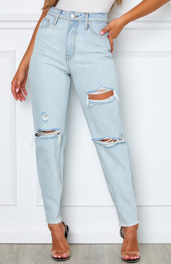 Love Stoned Boyfriend Jeans Light Blue