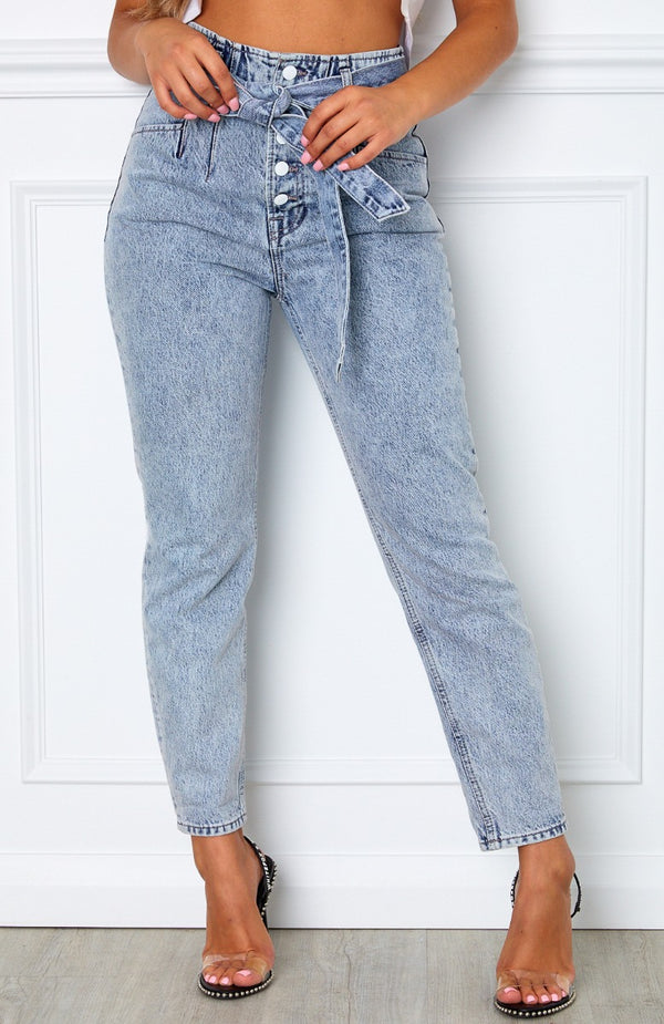Gimme More Tie Jeans Mid Blue